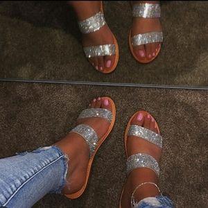 Double strap Clear Rhinstone Sandal